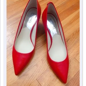 Michael Kors red kitten medium heels
